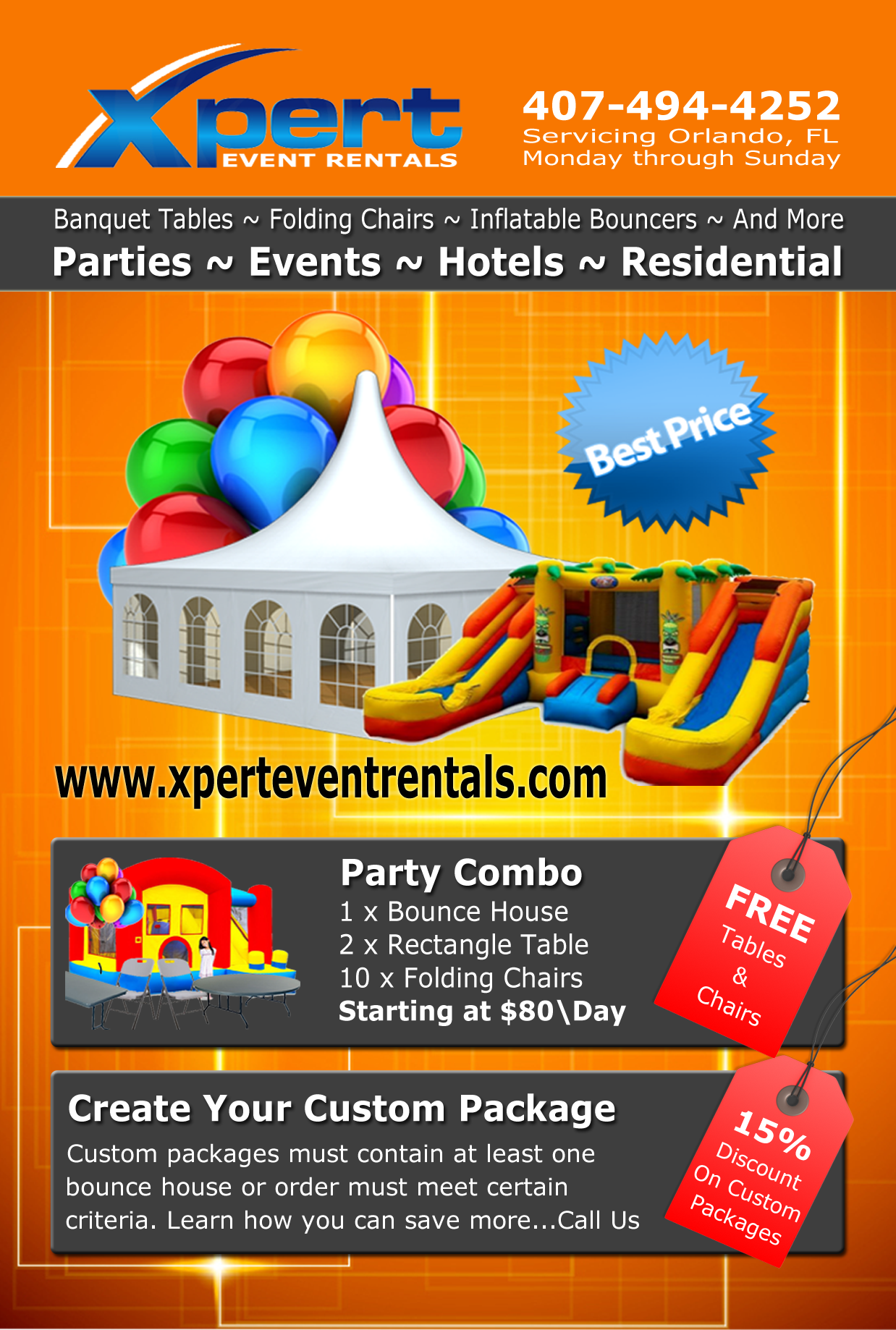 XPert Event Rentals Promotional ADs - License and Insures - Insured with Cossio Insurance Agency